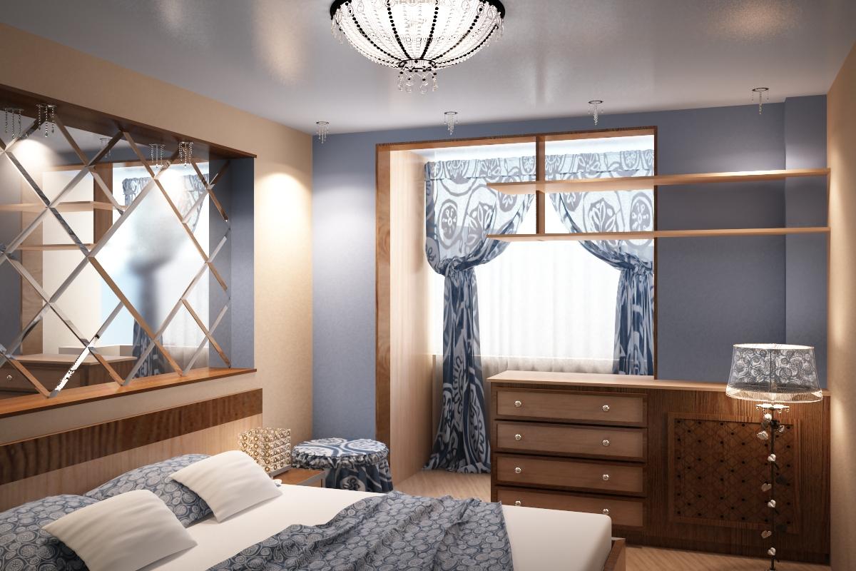 Дизайн очень маленькой спальни объединенной с балконом..