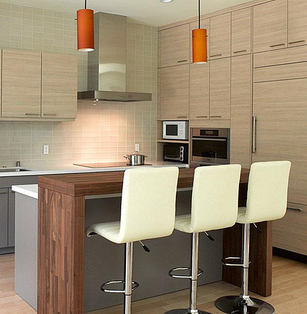 Прекрасные идеи дизайна кухни с баром, приятной для общения