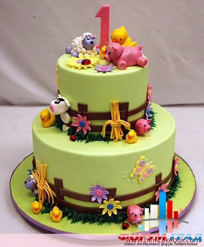 Детские тортики на 1 годик обычно
