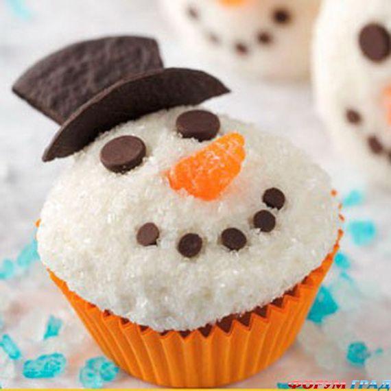 Украшение кекса снеговик