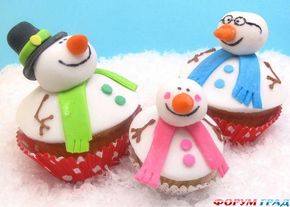 Кексы снеговики