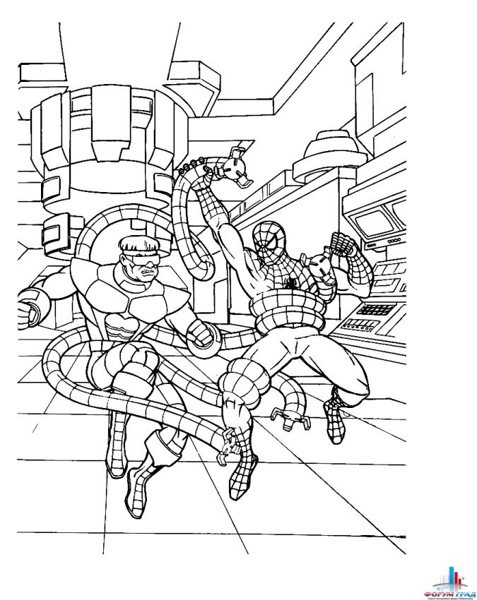 Раскраска - Человек паук - Фото-Град