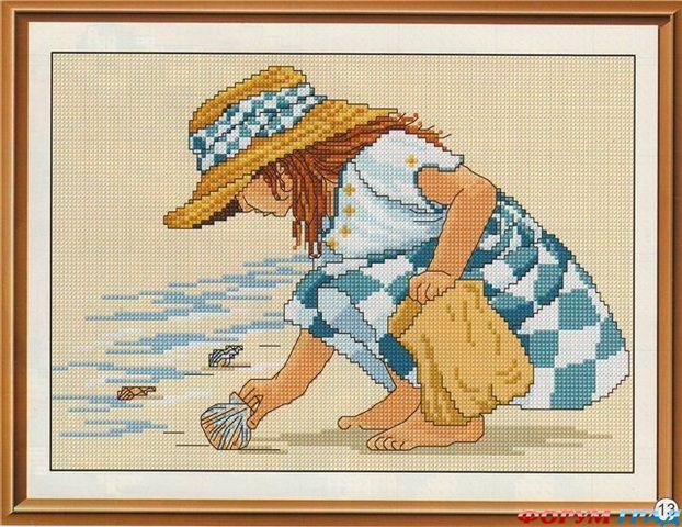 схема вышивки крестом девушка с удочкой