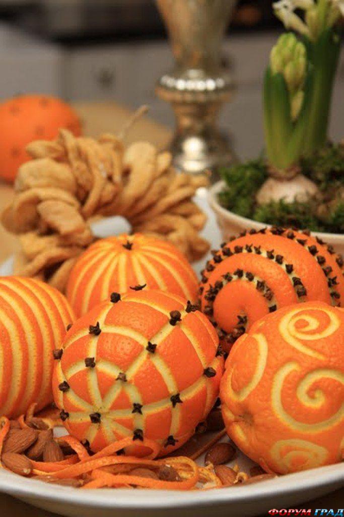 Декор на новый год из апельсинов