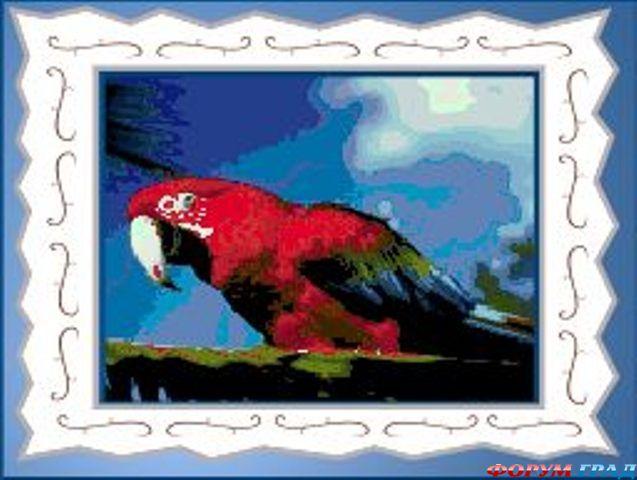 Композиция, попугай из бисера в круглой рамке.  Творческая задумка автора - попугай сидит на ветке с цветочками.