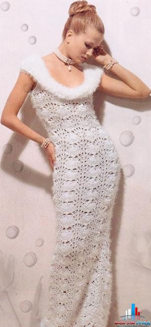 Ажурное платье спицами.  Фото вязаные спицами платья.