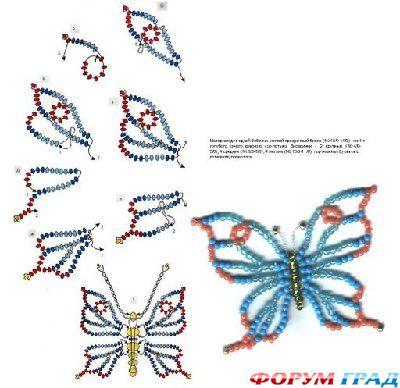 Ажурная бабочка и схема к ней.