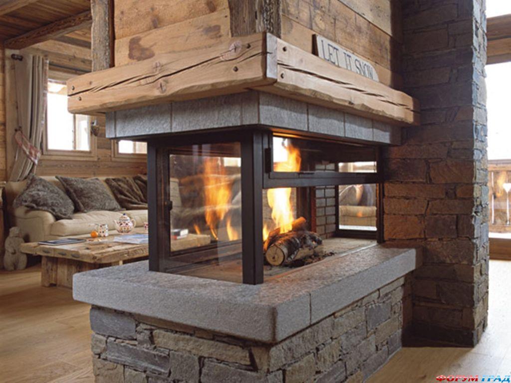 проекты деревянных домов.  Самое важное - при создании проекта деревянного дома в стиле шале нужно помнить про камин...