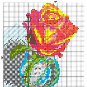 Роза в вазе - схема-рисунок.