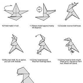 динозавр оригами простая схема