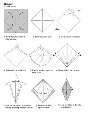 ...схема оригами дракоши, напоминающая внешне схему журавлика.
