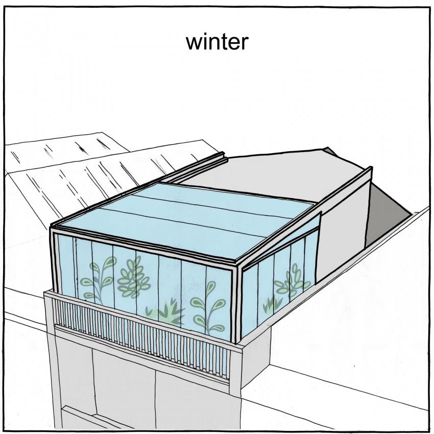 Конструкция крыши зимой