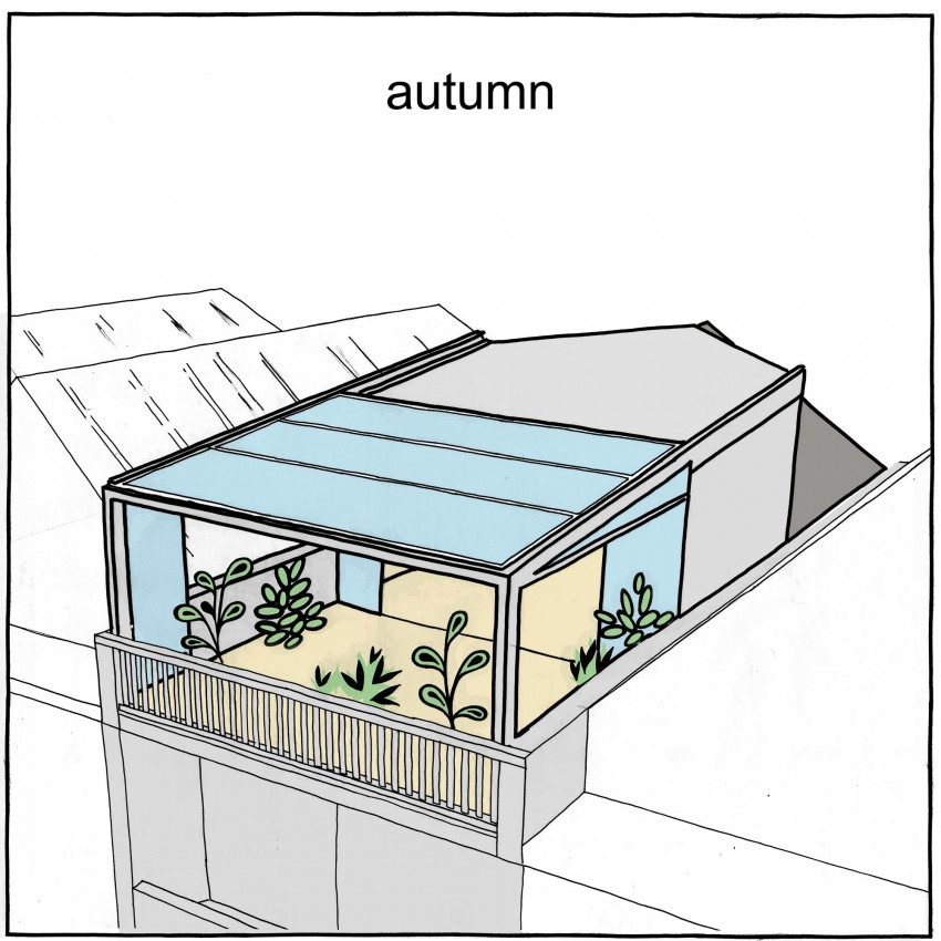 Конструкция крыши осенью