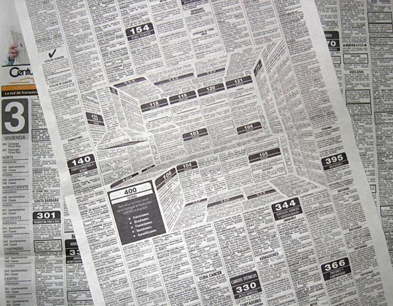 Реклама в газете с 3D-изображением кухни Corona Kitchen`s
