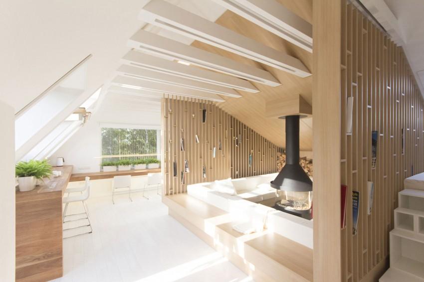 Скандинавский интерьер роскошных апартаментов на чердаке