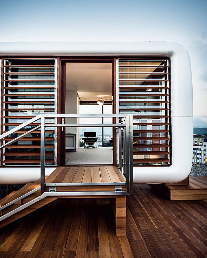 Модульный жилой дом для монтажа на плоской кровле
