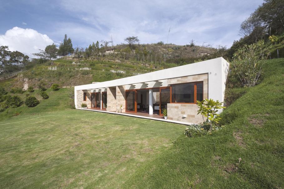 Необычные одноэтажные дома: особняк, встроенный в холм