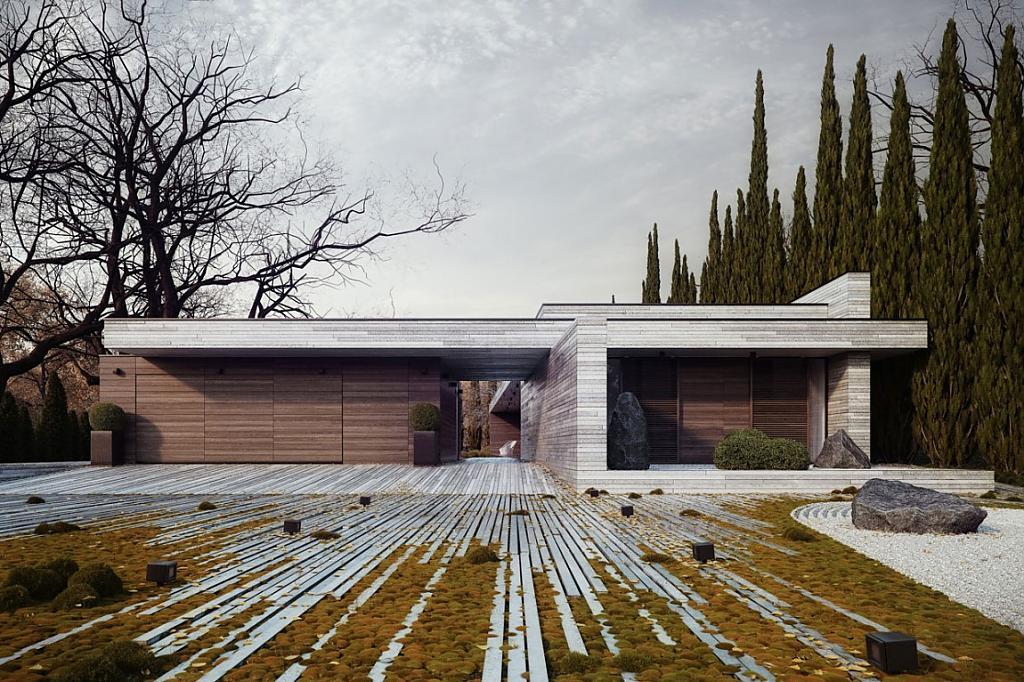 Необычные одноэтажные дома: польский проект коттеджа из камня и дерева
