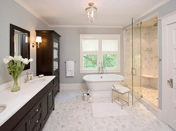 Искусственный белый мрамор в классическом дизайне ванной комнаты