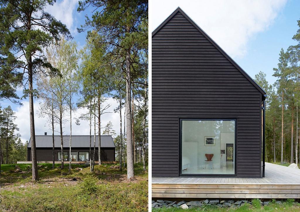 Оригинальный загородный дом в лесу