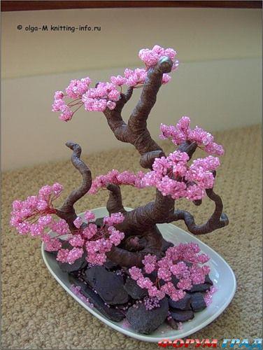 Дерево из бисера сакура - Фото цветов
