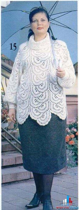 Пуловер из ленточного кружева