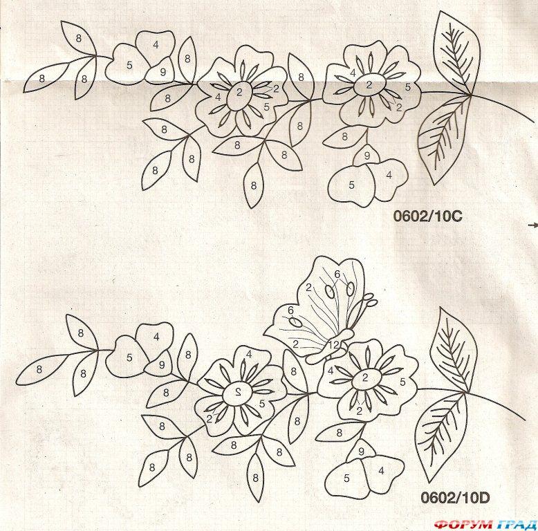 Вышивка цветочные мотивы 70