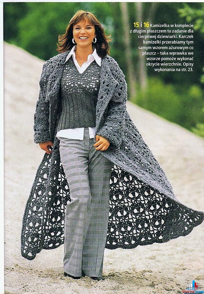 Женское вязаное пальто крючком - Фото