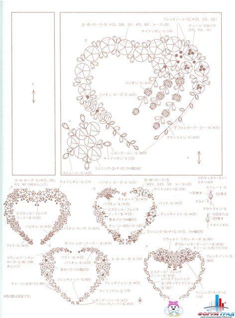 Схемы вышивки лентами сердце