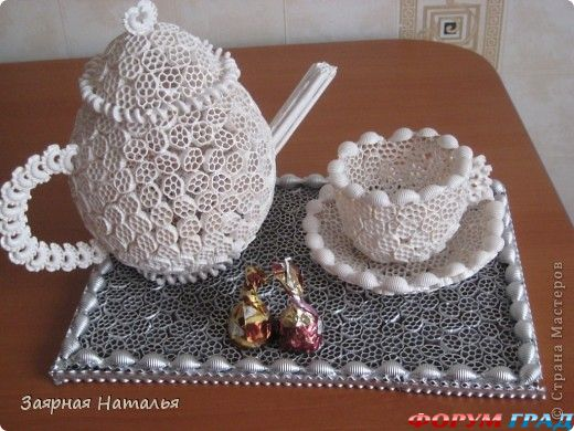 Чайный сервиз из макарон