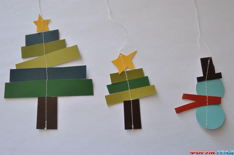 Елочные игрушки из бумаги и картона