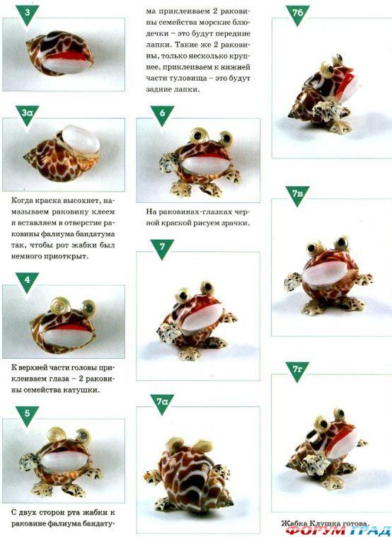 Лягушка из ракушек