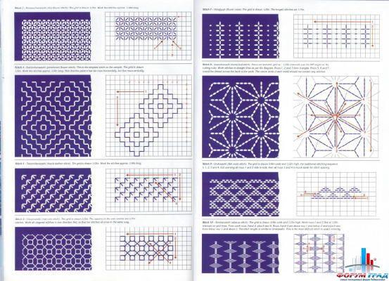 Лучшие схемы японской вышивки крестом и сашико: 5 вариантов