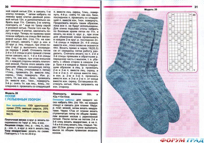 Как вязать муж. носки