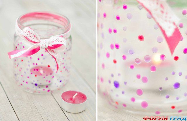 Украсить стеклянные баночки своими