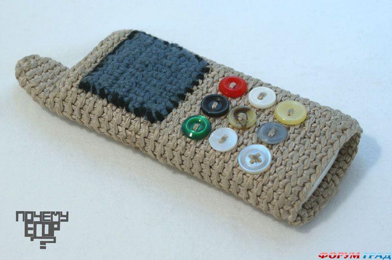Вязаный футляр для телефона крючком