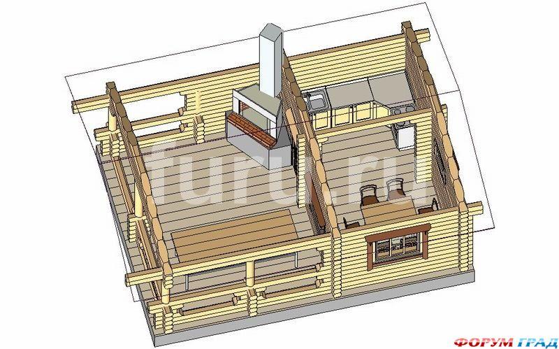 Беседка барбекю общей площадью 35 м2.  Удобный вариант для круглодичного использования.