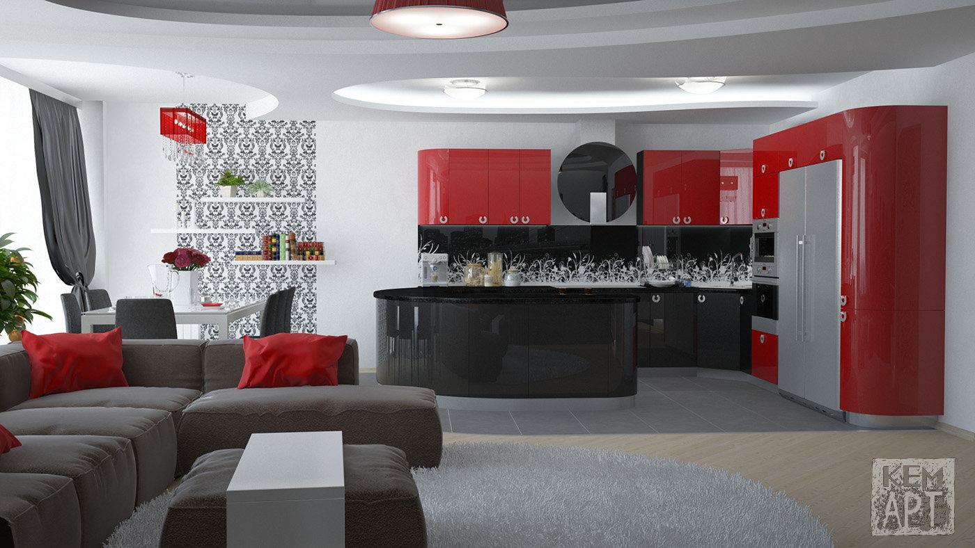 Дизайн кухни студии красно белый