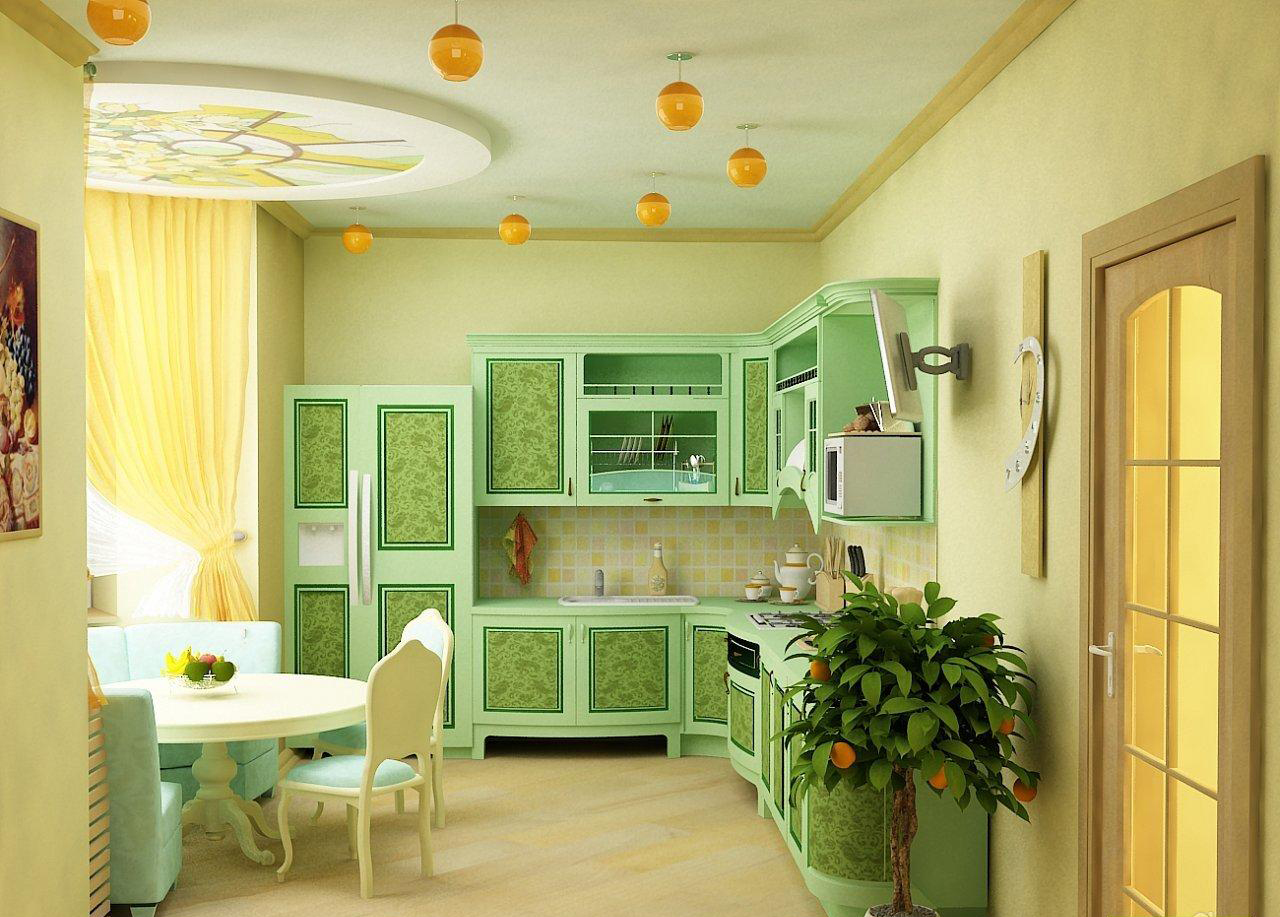 Бежево-зеленая дизайн