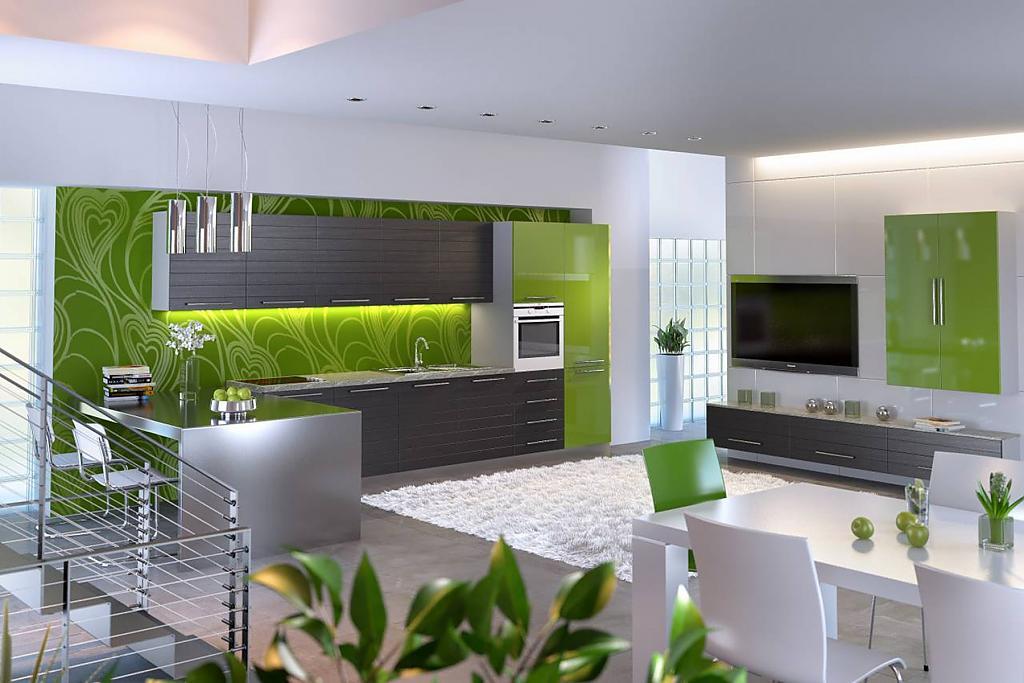 Дизайн зеленой кухни фото
