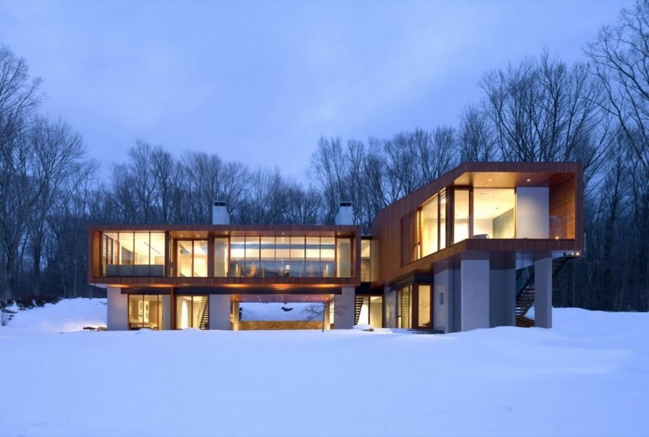 Авторские современные дома: красивый Bridge House в Коннектикуте