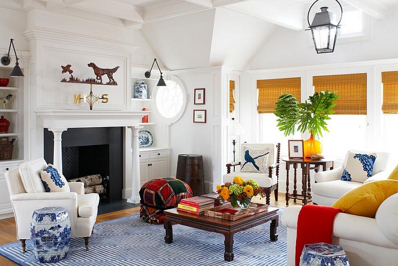 Садовые табуреты в восточном стиле в гостиной