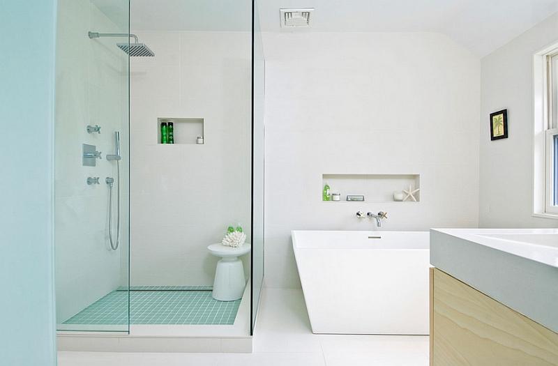 Круглая тумбочка тумбочки в интерьере ванной