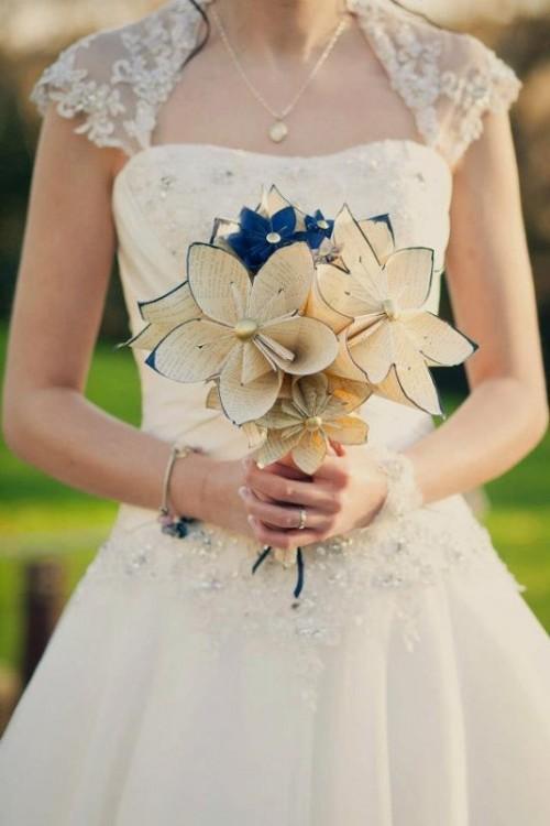 Свадебные букеты из бумажных цветов своими руками