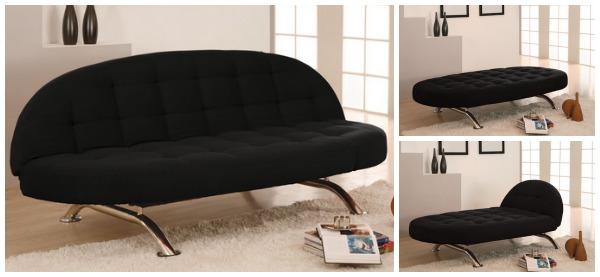 Стильный чёрный диван в интерьере гостиной
