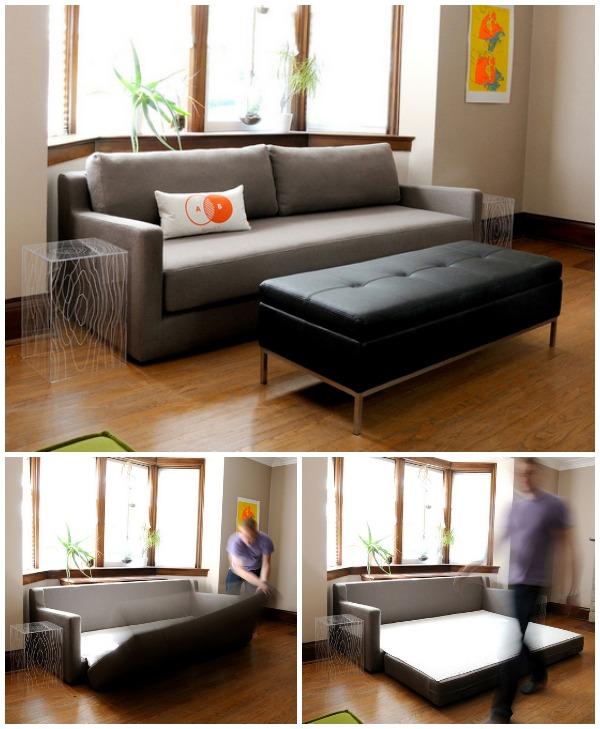 Раскладной диван в интерьере гостиной