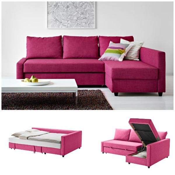 Стильный розовый диван в интерьере гостиной