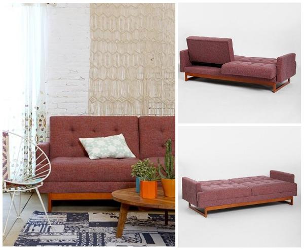 Стильный раскладной диван в интерьере гостиной