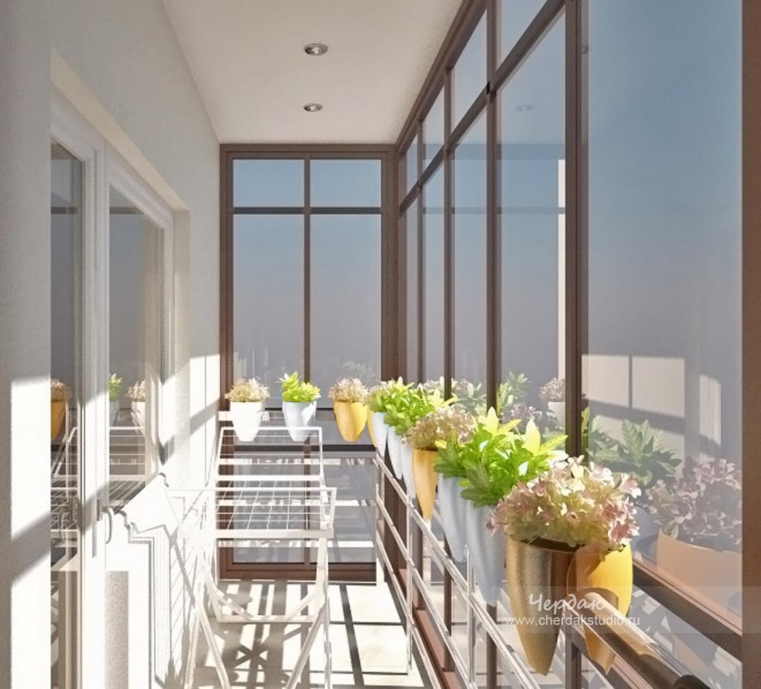 Интерьер панорамного балкона..