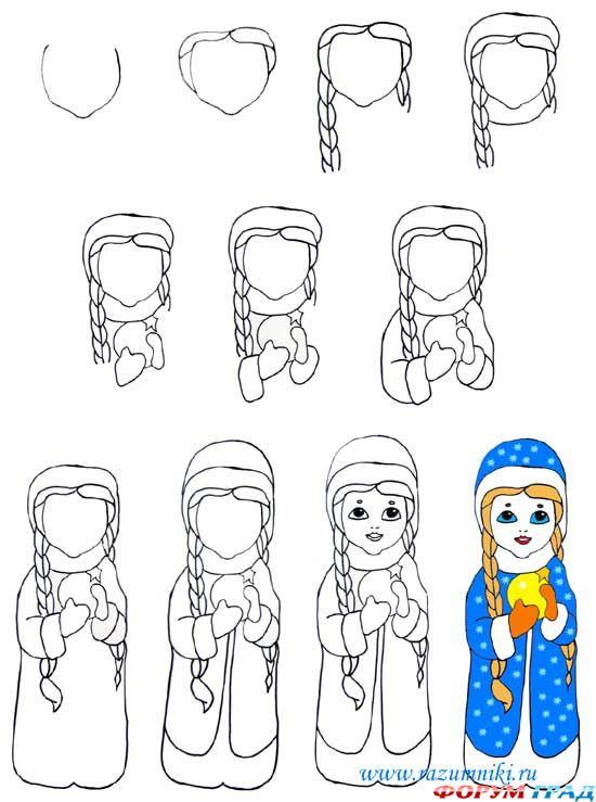 Учимся рисовать Снегурочку